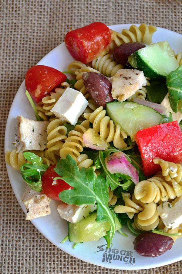 Greek Arugula Pasta Salad