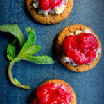 Honey Rhubarb Compote with Gingersnap Cookies and Blue Cheese Butter