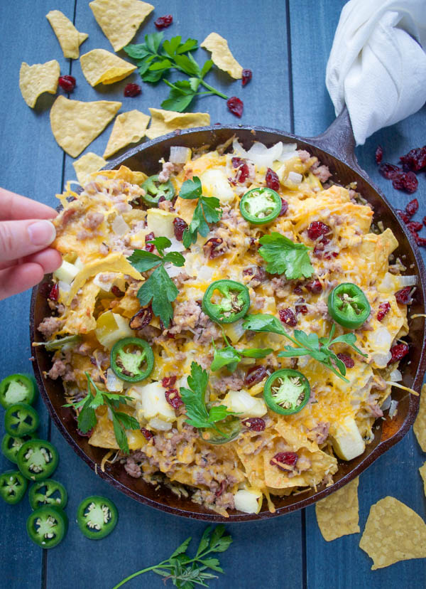 Fallchos – Fall Flavored Nachos with Ground Pork, Apples, and Cranberries