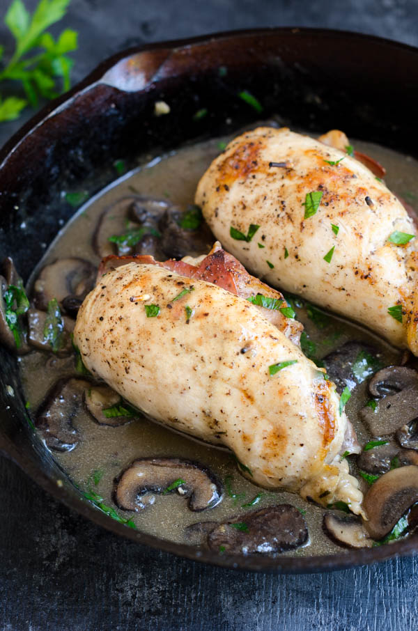 Prosciutto Stuffed Chicken Rolls with Chardonnay Sauce