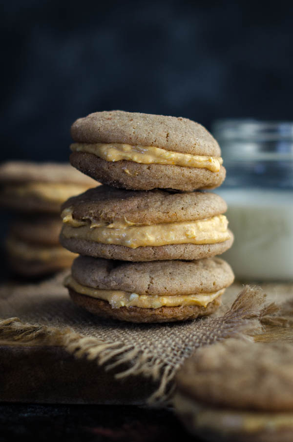 Snickerdoodle Sandwich Cookies With Pumpkin Cream Cheese Frosting