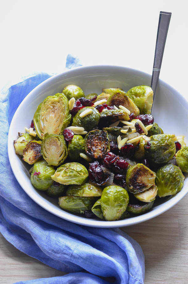Roasted Maple Shallot Brussels Sprouts With Cranberries