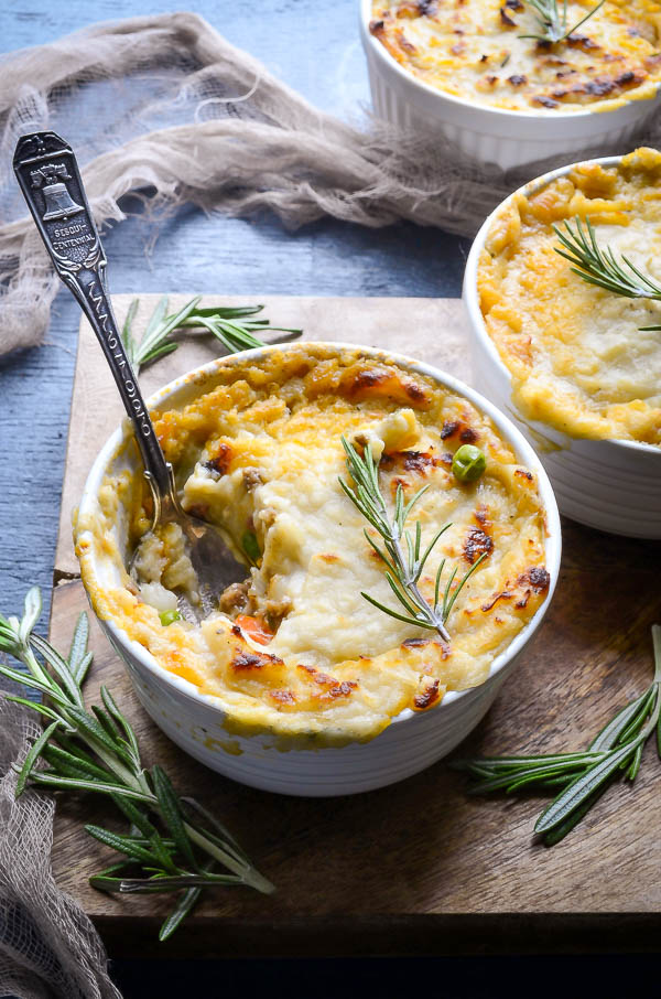 Single Serving Leftover Mash Potato Shepherd's Pies
