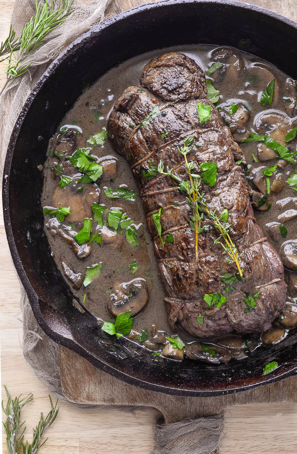 Succulent Roast Beef Tenderloin With A Red Wine Mushroom Sauce