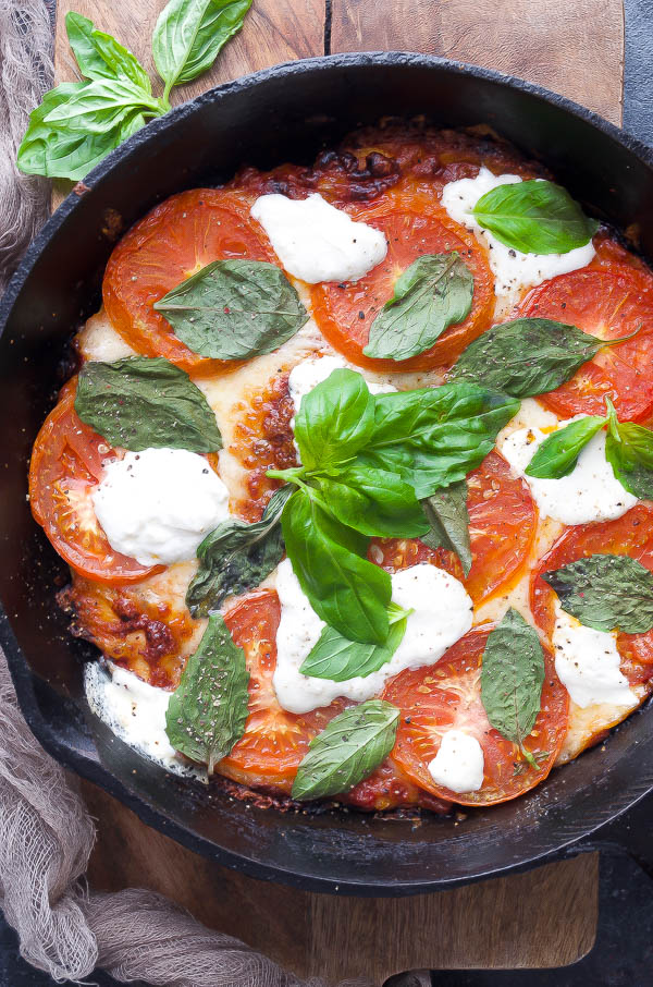 Skillet Margherita Pizza Topped with Burrata Cheese